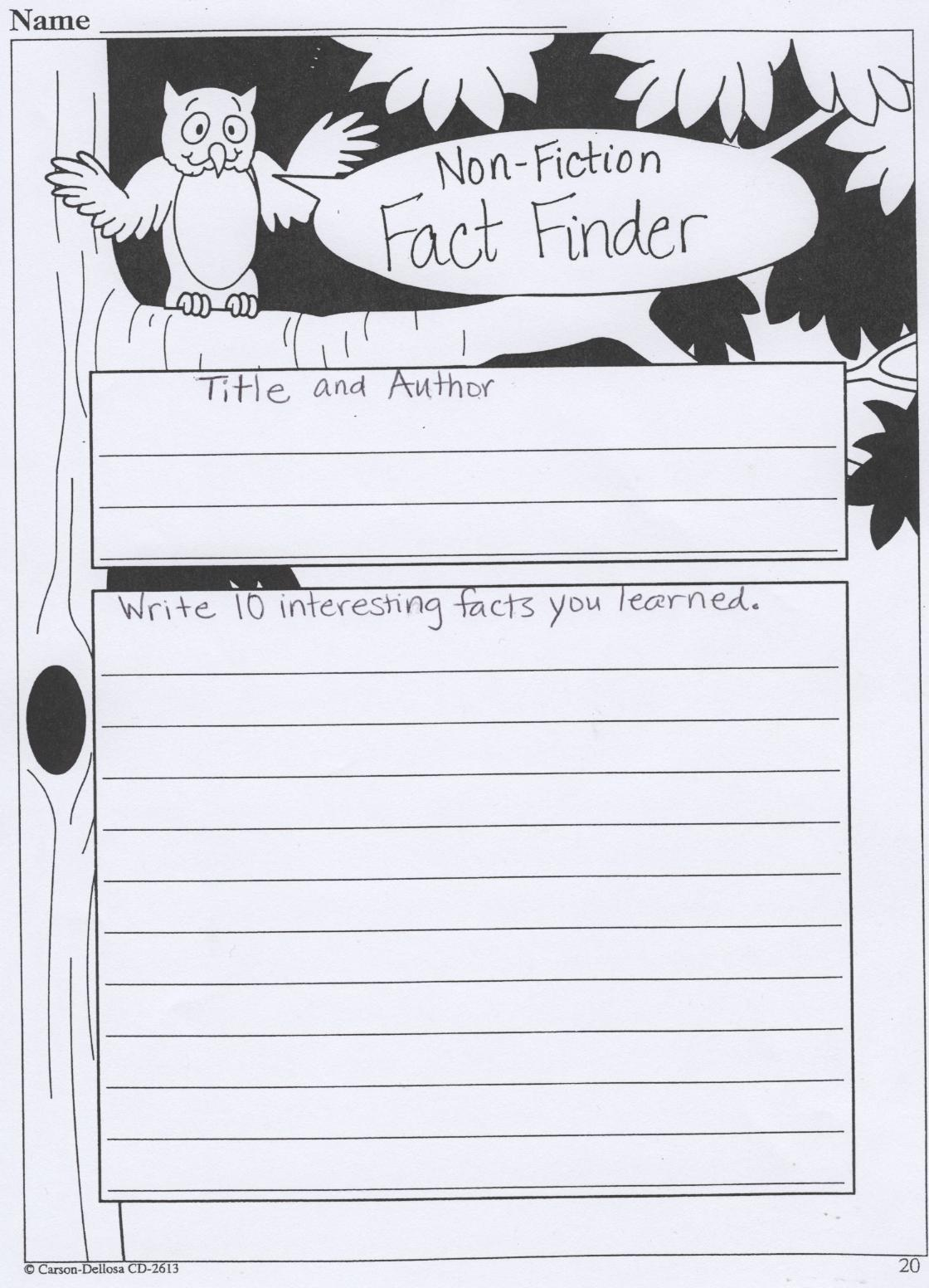fiction book report sheets